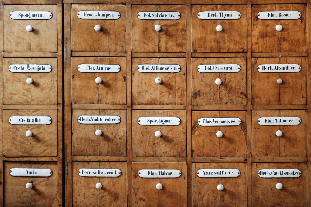 Drawers of a pharmacy